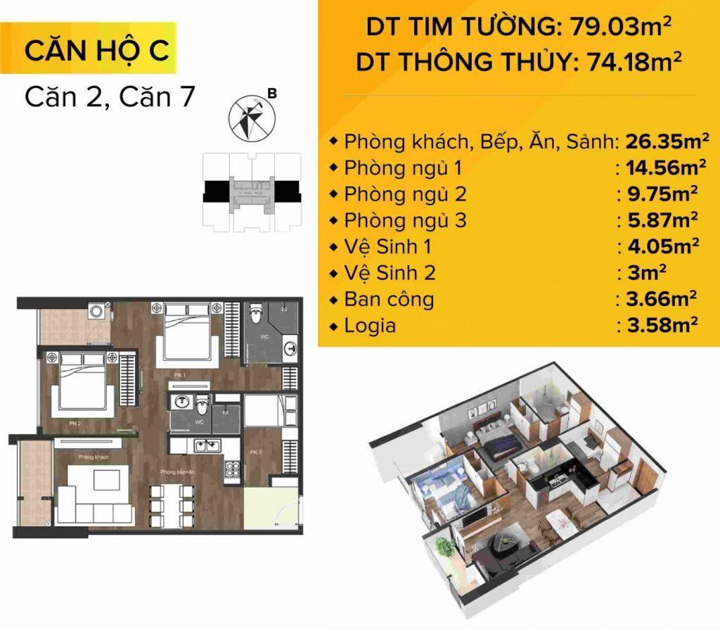 Dự án chung cư The Sun Mễ Trì mẫu căn hộ 2 và 7