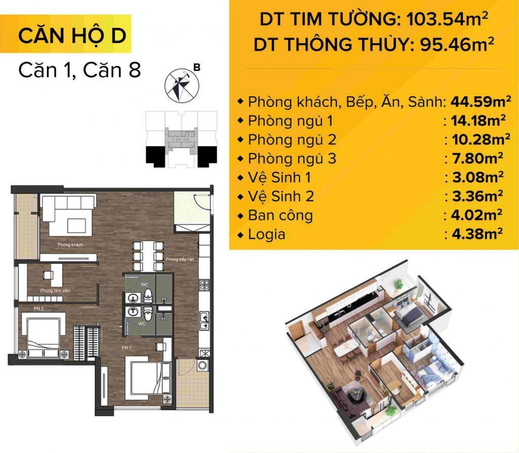 Dự án chung cư The Sun Mễ Trì mẫu căn hộ 1 và 8