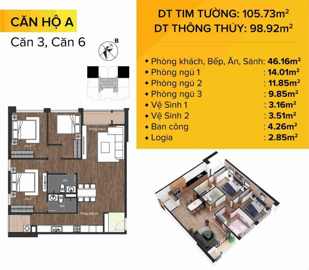 Dự án chung cư The Sun Mễ Trì mẫu căn hộ 3 và 6