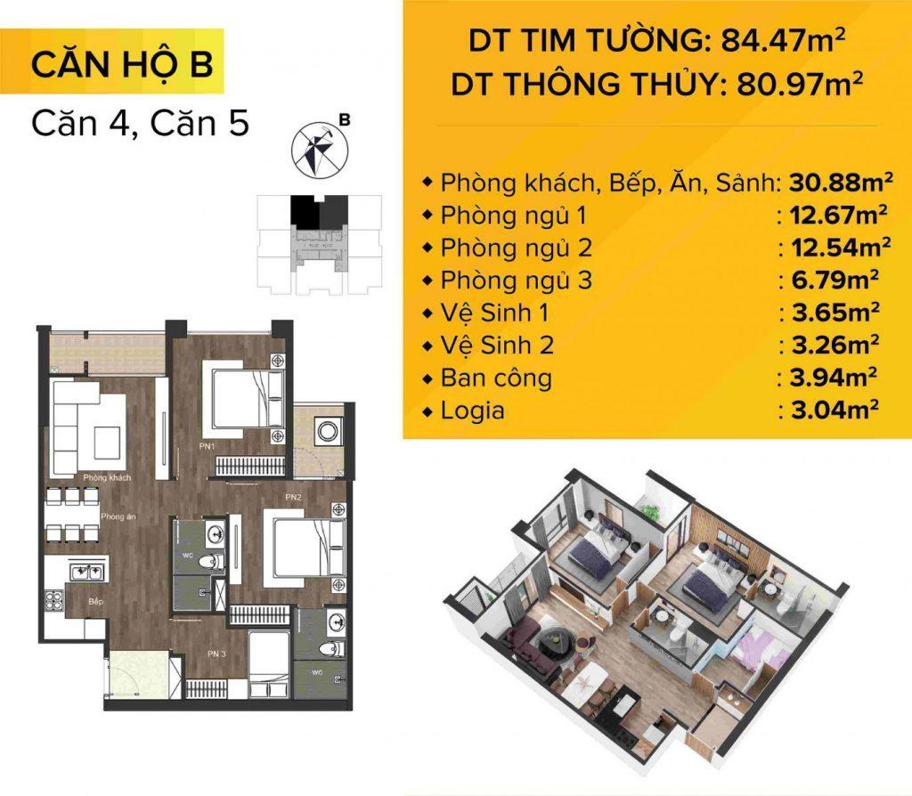 Dự án chung cư The Sun Mễ Trì mẫu căn hộ 4 và 5