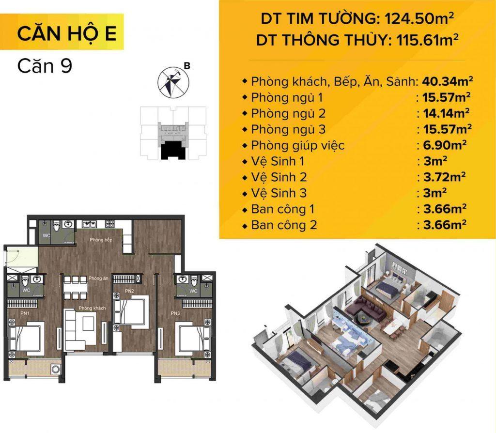Dự án chung cư The Sun Mễ Trì mẫu căn hộ 9